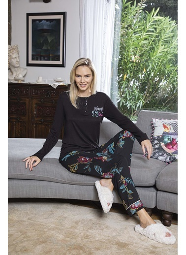 Aydoğan Kadın Poplin Siyah Uzun Kollu Pijama Takımı Renkli